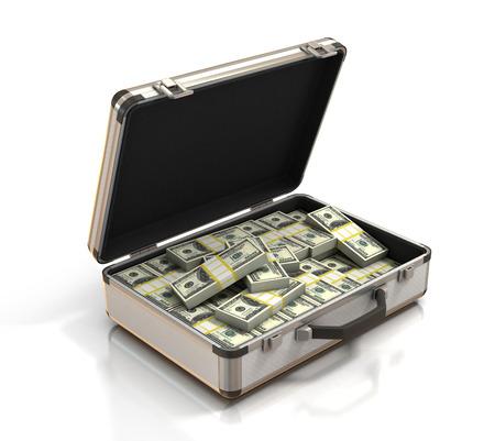 brief case: case full of dollar Stock Photo