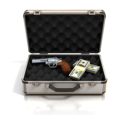 case with money and gun photo