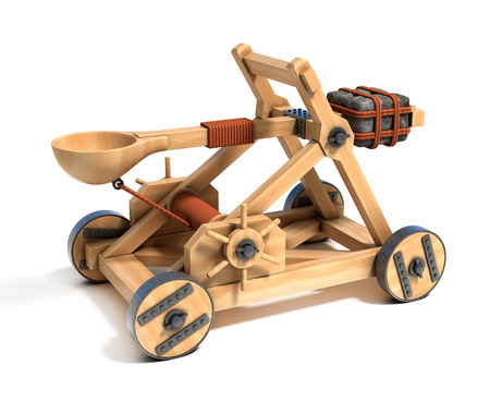maquette: catapult 3d illustration