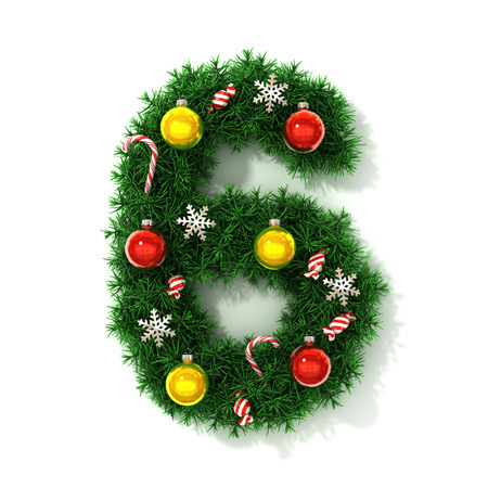 number 6: Christmas tree font number 6