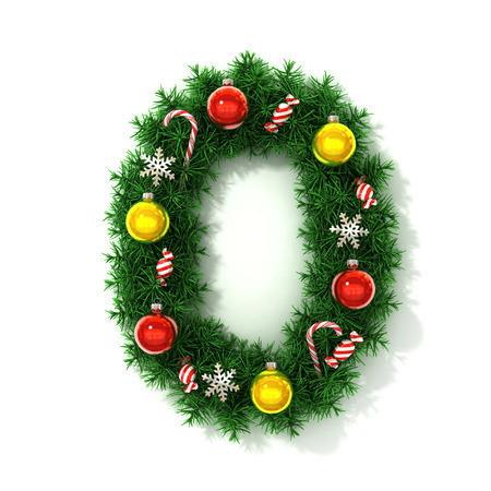 Christmas tree font number 0