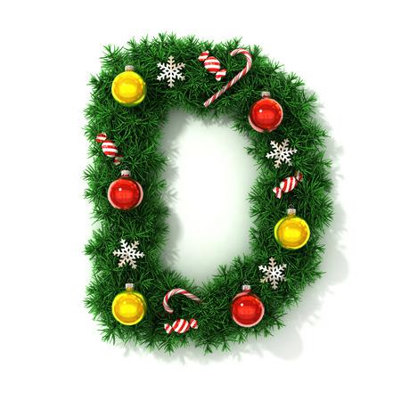 concepts alphabet: Christmas font letter D