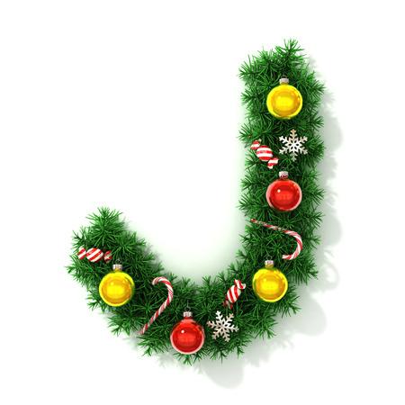 Christmas font letter J
