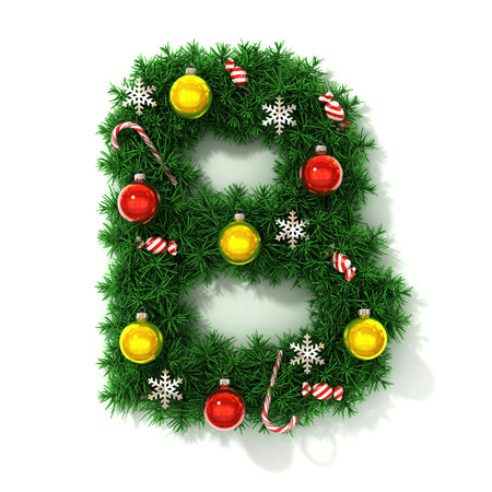 b ball: Christmas font letter B Stock Photo