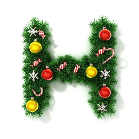 fonts 3d: Christmas font letter H