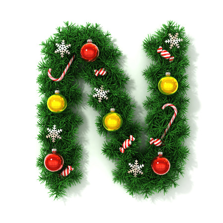 Christmas font letter N Stock Photo