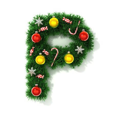 Christmas font letter P Stock Photo