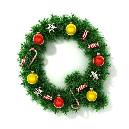 Christmas font letter Q photo