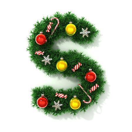 concepts alphabet: Christmas font letter S Stock Photo
