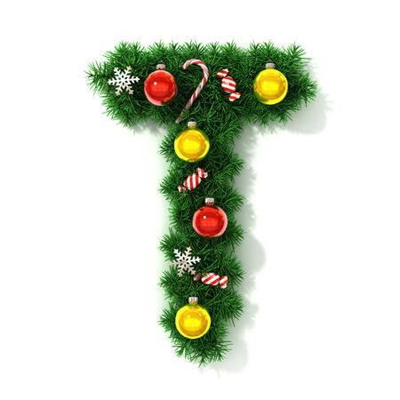 alphabet tree: Christmas font letter T