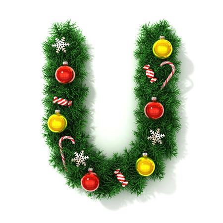 Christmas font letter U photo