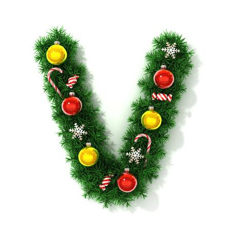 v alphabet: Christmas font letter V
