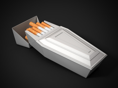 pack of cigarettes as funeral coffin  smoking kills 3d Stock Photo