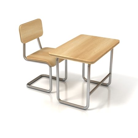 wooden desk: school desk and chair on white background