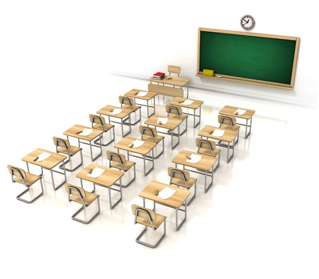 final examination: classroom 3d illustration