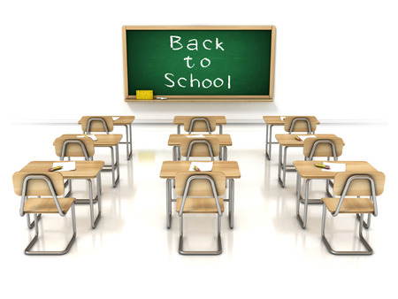empty classroom: back to school 3d illustration - classroom on white background
