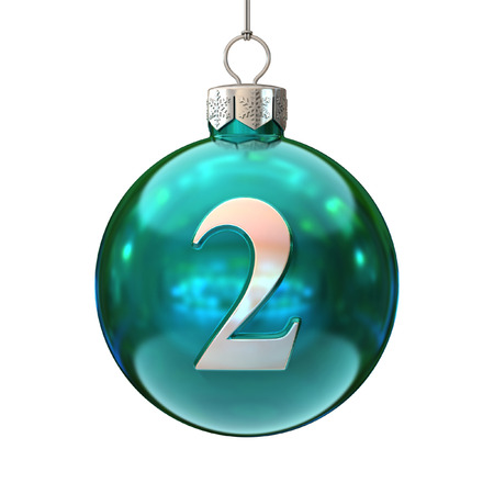 number two: Colorful Christmas ball font number 2