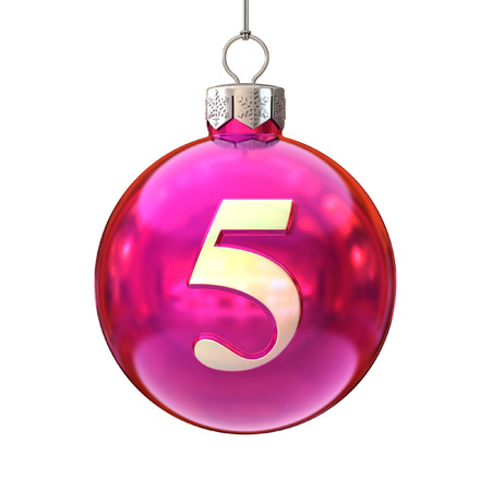 color balls: Colorful Christmas ball font number 5
