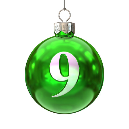 9 ball: Colorful Christmas ball font number 9