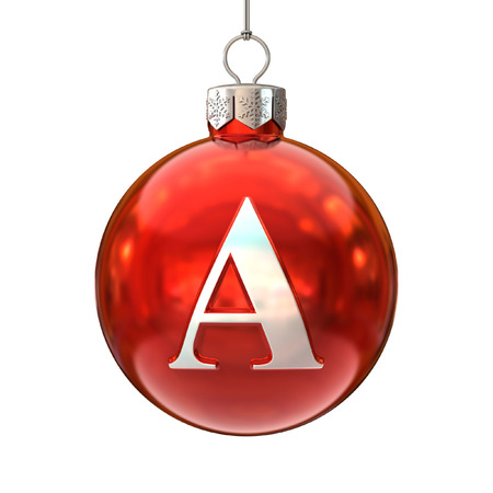 Colorful Christmas ball font letter A photo