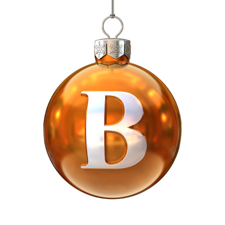 b ball: Colorful Christmas ball font letter B