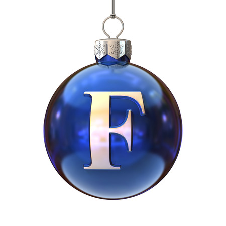 letter f: Colorful Christmas ball font letter F