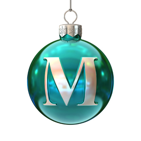 Colorful Christmas ball font letter M photo