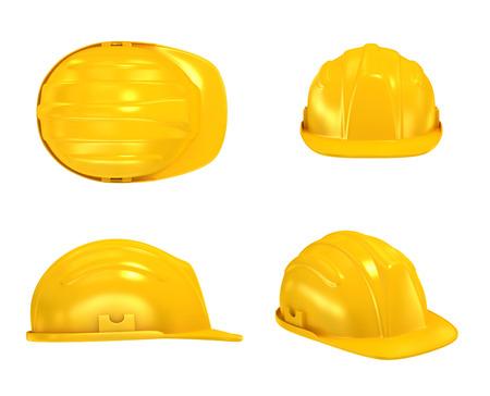 工事ヘルメットさまざまなビュー 写真素材