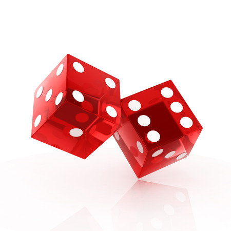 two red dice isolated photo