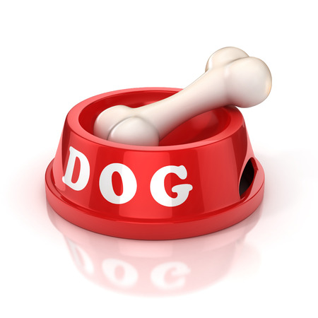 dog and bowl: dog bowl with bone 3d illustration