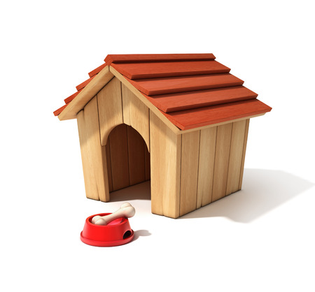 dog kennel: dog house, bowl and bone 3d illustration Stock Photo