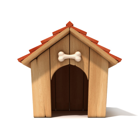 white dog: dog house 3d illustration Stock Photo