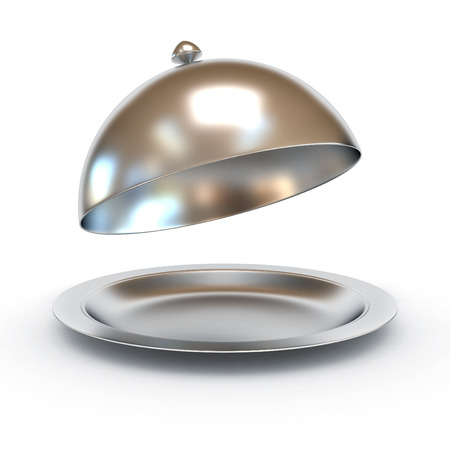 Restaurant cloche with open lid 3d illustration Stock Photo