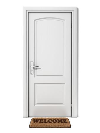 white door with welcome doormat photo