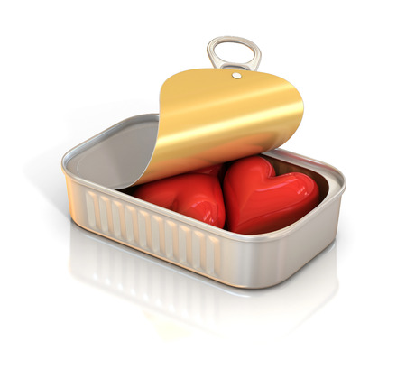 tin can: hearts inside tin can 3d illustration Stock Photo