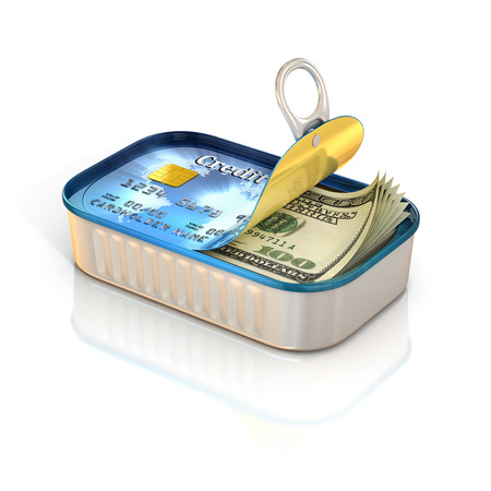 money concept - cash inside aluminum can with credit card print photo