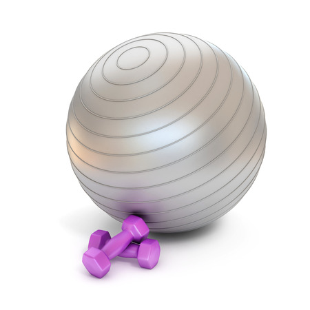 pilates ball: fitness ball and weights isolated
