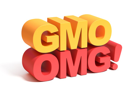 genetically: GMO genetically modified food 3d concept