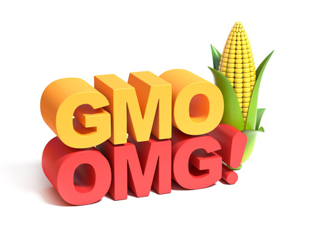 food technology: GMO genetically modified food 3d concept