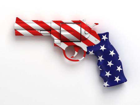 pistola: pistola con la bandera de EE.UU. de impresi�n Foto de archivo