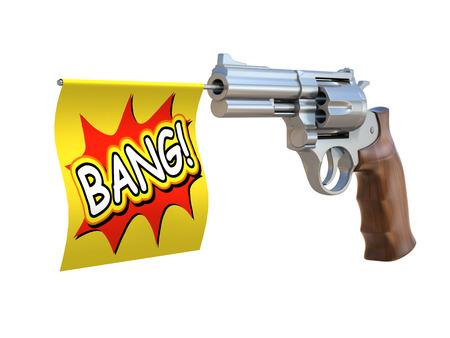 pistola: pistola de juguete con la bandera explosi�n Foto de archivo