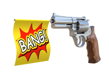 gun shot: toy gun with bang flag