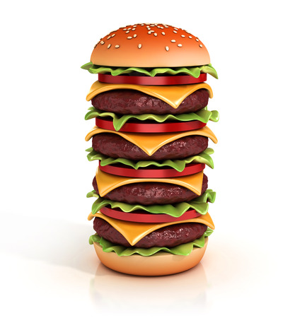 hamburger tower 3d illustration Stock Photo