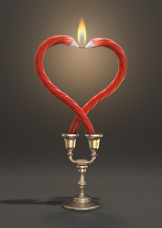 forming: two candles forming heart shape Stock Photo