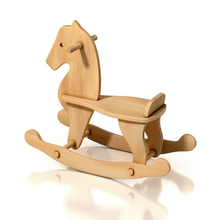 wooden rocking horse chair 3d illustration Archivio Fotografico
