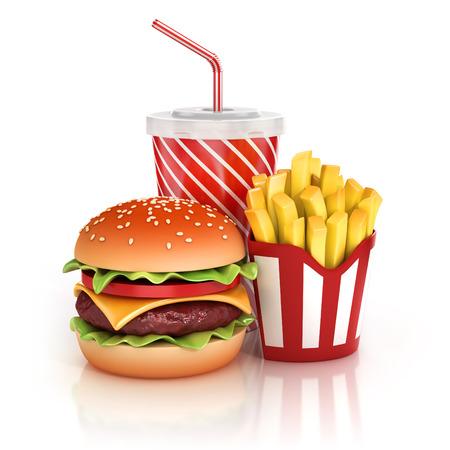 ファーストフードのハンバーガー、フライド ポテト、ソフトド リンクの 3 d イラストレーション