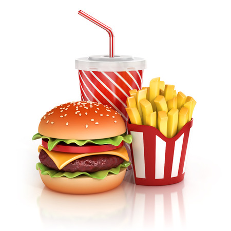 comida rapida: hamburguesa de comida r�pida, papas fritas y refresco 3d ilustraci�n