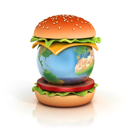 poor diet: earth hamburger 3d illustration