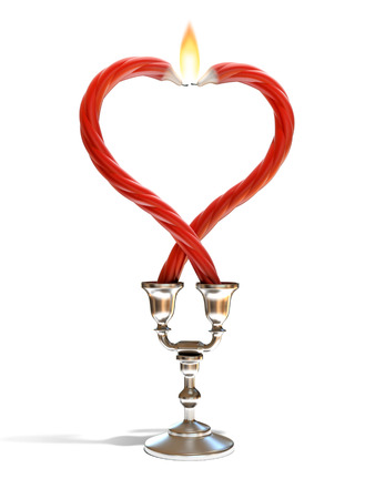 heart burn: two candles forming heart shape Stock Photo