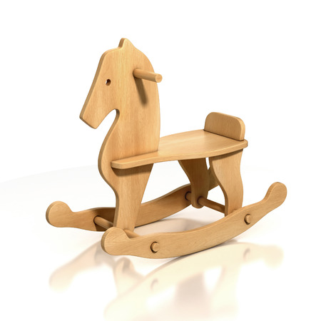 rocking: wooden rocking horse chair 3d illustration Stock Photo